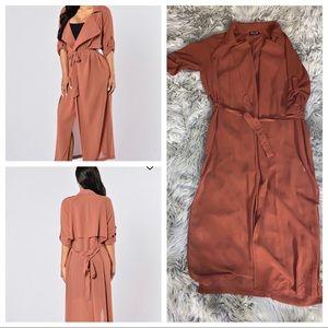 Mauve Ankle Length Duster Coat